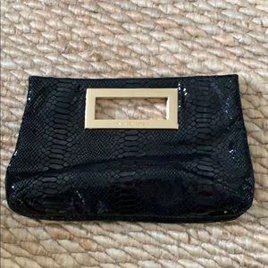Michael kors black snakeskin gold clutch
